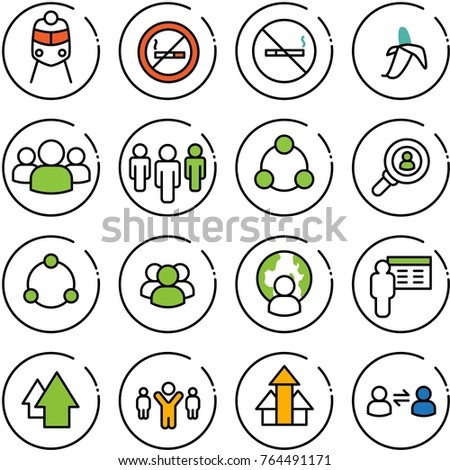 Thin line vector icon set - train vector, no smoking sign, banana, group, social, head hunter, community, man globe, presentation, arrow up, team leader, arrows, information exchange