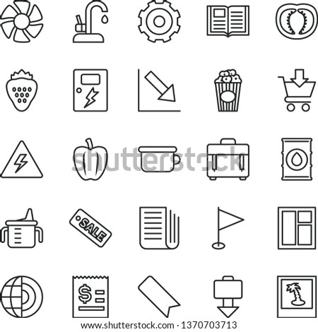 thin line vector icon set - truck lorry vector, danger of electricity, bookmark, pennant, negative chart, measuring cup for feeding, children's potty, window, dangers, kitchen faucet, book, case