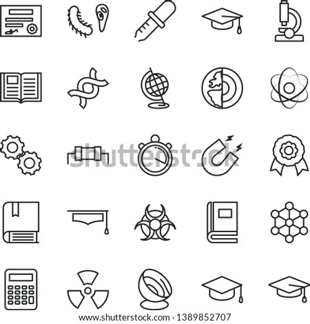 thin line vector icon set - vector e, book, square academic hat, microscope, atom, nuclear, dna, gears, bactery, biohazard, pipette, globe, magnet, graduate, calculator, earth core, medal, stopwatch #1389852707
