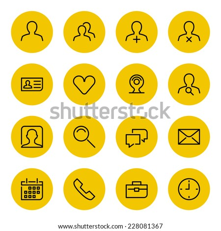 Thin line vector icons set for web site and mobile apps design black and yellow colors flat style. Objects and symbols: user, profile, business man, human, mail, speech bubble, network, social media