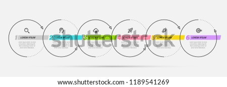 Thin line vector Infographic design template with icons and 6 options or steps.  Can be used for process diagram, presentations, workflow layout, banner, flow chart, info graph.
