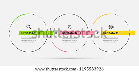 Thin line vector Infographic design template with icons and 3 options or steps.  Can be used for process diagram, presentations, workflow layout, banner, flow chart, info graph.