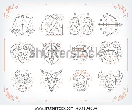 Thin line vector zodiacal symbols. Astrology, horoscope sign, graphic design elements, printing template. Vintage outline stroke style. Isolated on white.