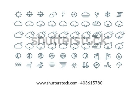 Thin line weather icons collection. Gray icons isolated on white background.