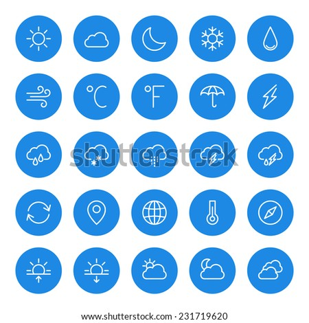 Thin line weather icons set for web and mobile apps. White and blue colors flat design. Cloud, sun, rain, storm, snow, moon
