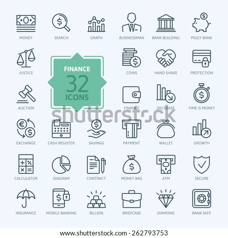 thin line web icon set   money