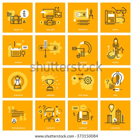 Thin line web icons of business essentials, company information, contact and communication, online support, services. Vector illustration concepts for graphic and web design.