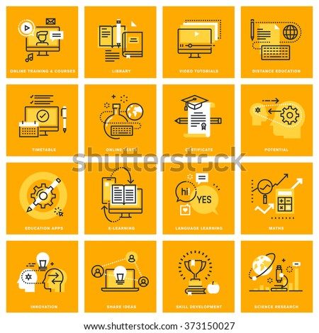 Thin line web icons of e-learning, video tutorials, online courses, e-book and library. Vector illustration concepts for graphic and web design.