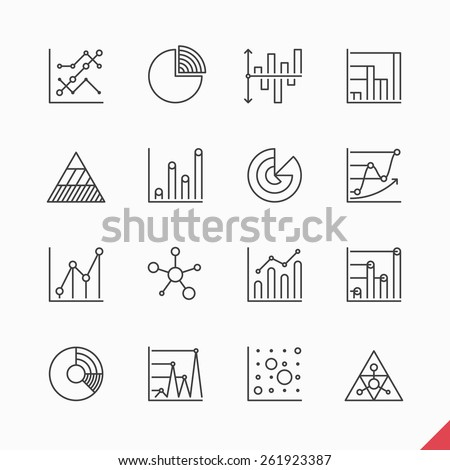 Thin linear business data market Infographic elements icons set with variety of bar, pie, area charts vector illustration
