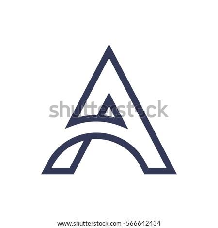 Thin lines elegant letter A logo.