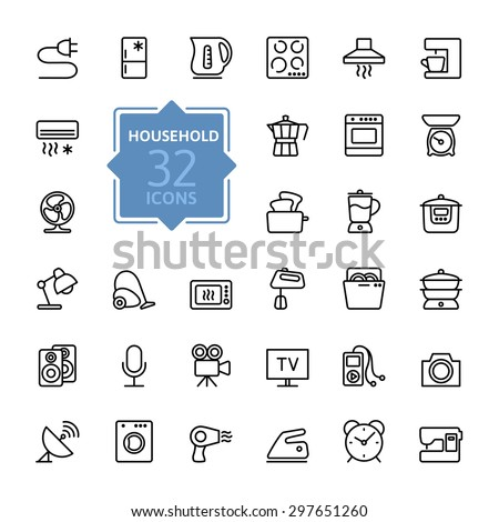 Thin lines icon collection - household appliances