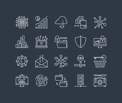 Thin lines icons set of big data center graph, cloud computing system, internet protection password access, technical instrument. Modern infographic outline vector design simple logo pictogram concept