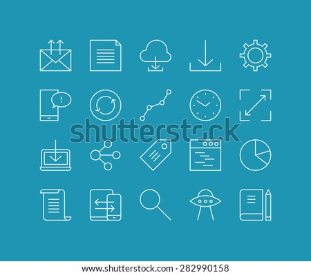 Thin lines icons set of cloud networking, office workflow object, global business communication, mobile user interface element. Modern infographic outline vector design, simple logo pictogram concept.