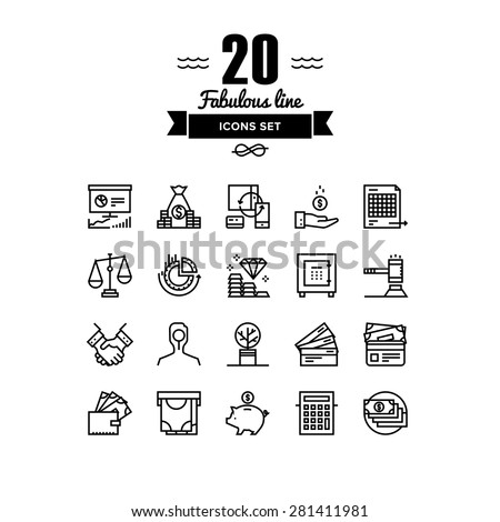 Thin lines icons set of finance strategy, banking account, return on investing, money circulation process, securities trading. Modern infographic outline vector design, simple logo pictogram concept.