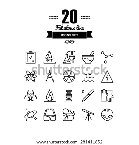 Thin lines icons set of scientific experiments, bio technology genome testing, alien life form hazardous materials research. Modern infographic outline vector design, simple logo pictogram concept.