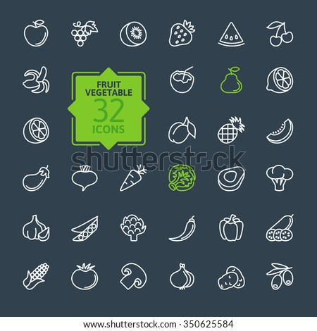 Thin lines pictogram collection- Fruit and Vegetables