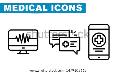 Thin lines web icon set - Medicine and Health symbols - Vektör