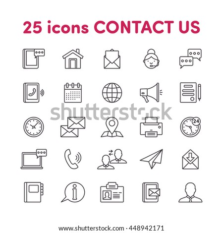 Thin lines web icons set Contact us #448942171