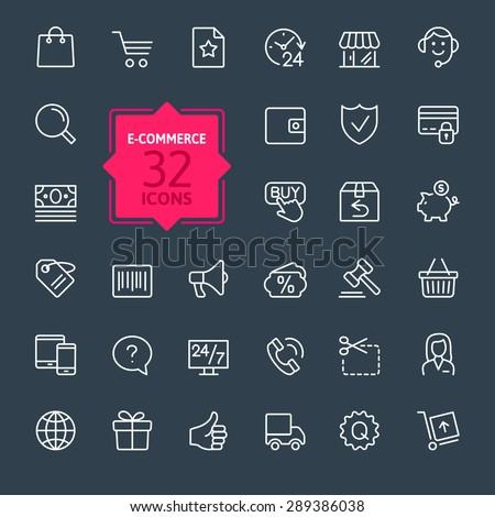 Thin lines web icons set - E-commerce, shopping #289386038