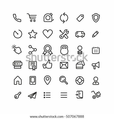 thin lines web icons set  line