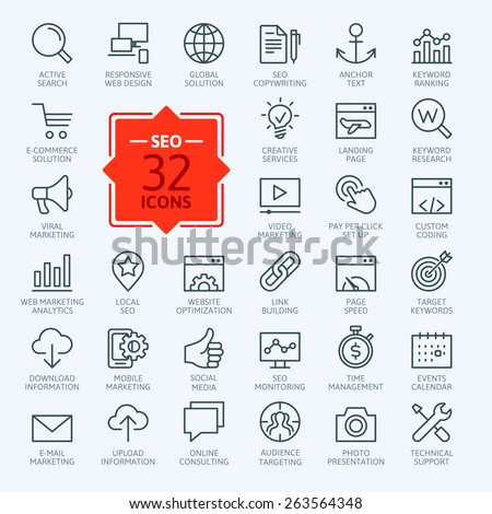 Thin lines web icons set - Search Engine Optimization