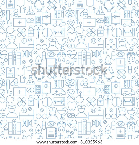 Thin Medical Line Health Care White Seamless Pattern. Vector Medicine Design and Seamless Background in Trendy Modern Line Style. Thin Outline Art