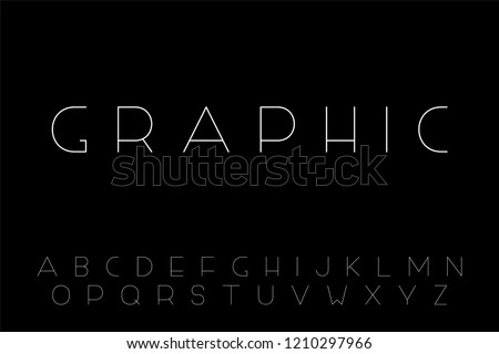 Thin minimalistic font. English alphabet, creative latin letters