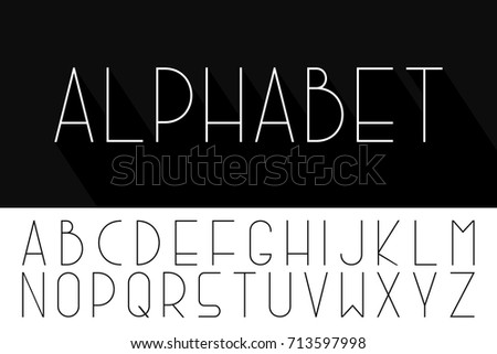 thin minimalistic font vector