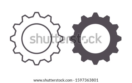 Thin outline and flat vector pin gears icon. Cog wheel and gear symbol of mechanical, engine work, architecture and power ideas
