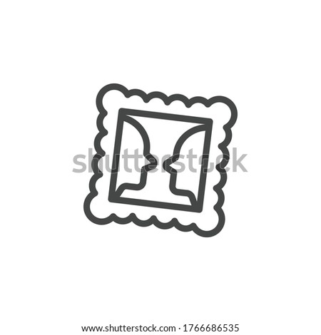 Thin Outline Icon Framed Picture. Such Line sign as Gallery, Visual Perception, Picture. Vector Computer Isolated Pictograms for Web and App on White Background Editable Stroke. Foto stock ©