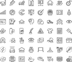 Thin outline vector icon set with dots - christmas tree vector, achievement, Car rental, wash service, Landing page, Target keywords, Computer Vision, media player, Streaming software, Inkwell, coat