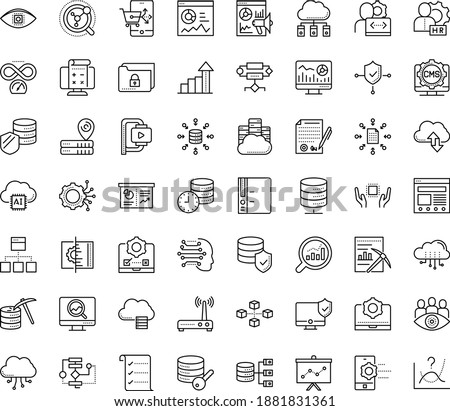 Thin outline vector icon set with dots - growth vector, hr manager, Web analytics, SEO monitoring, Marketing, Business Planning, Machine learning, Algorithm, Data mining, Computer Vision, Folder Stock foto ©