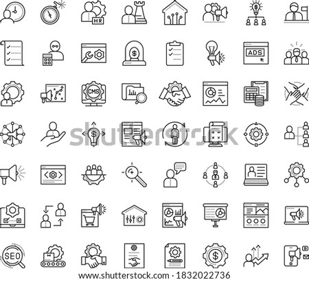 Thin outline vector icon set with dots - hr manager vector, department, planning, consulting, software, human Resour es, employee relations, strategy, SEO, Target keywords, Digital marketing, CMS Foto stock ©