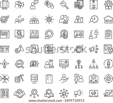 Thin outline vector icon set with dots - Human Resources vector, hr manager, department, consulting, software, outsourcing, Resour es, policies, employee relations, services, solutions, strategy Foto stock ©