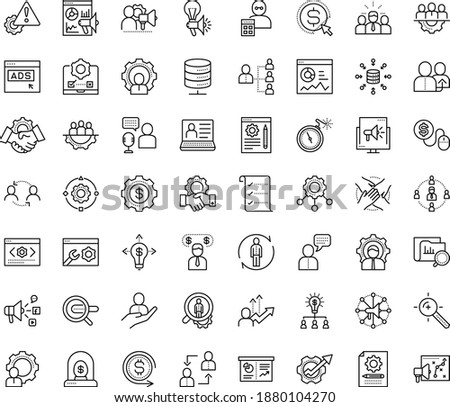 Thin outline vector icon set with dots - referral vector, hr department, planning, consulting, software, human Resour es, employee relations, services, Search engine, Target keywords, Cost per click
