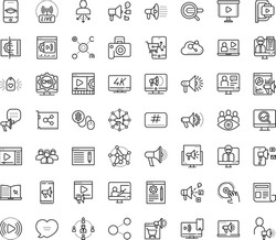 Thin outline vector icon set with dots - SEO copywriting vector, Search engine, Social media marketing, monitoring, Digital, campaign, Video, Mobile, Pay per click, Blog management, analytics, maker