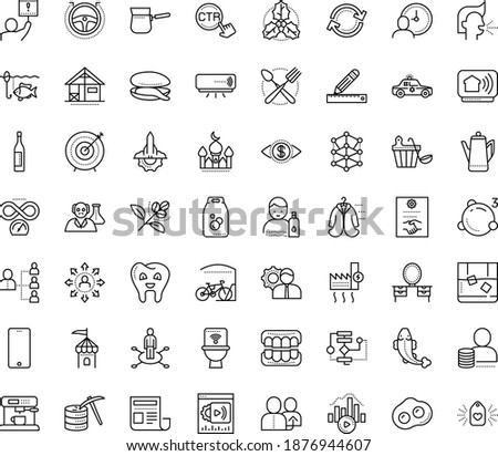Thin outline vector icon set with dots - sneezing vector, stay hydrated, holly, area of specialization, referral, hr planning, Algorithm, AI Architecture, Autopilot, Pencil and ruler, Bitrate, sync