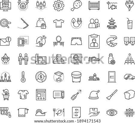 Thin outline vector icon set with dots - wash hands vector, elf, santa hat, champagne, gift bag, vision, Scythe, referral, Search engine, Landing page, SEO monitoring, Spam, Game based Learning