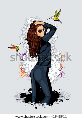 Thin sexy girl on bizarre background. Abstract vector illustration.