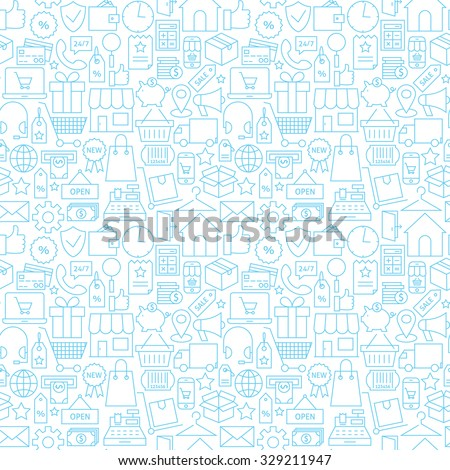 Thin Shopping Retail Line White Seamless Pattern. Vector E-commerce Online Store and Marketplace Design Background Trendy Modern Line Style. Thin Outline Art