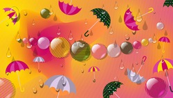 thin wavy lines, shiny translucent striped balls and enchanting umbrellas of different sizes against the background of a mixture of yellow and pink colors. Bright colorful wallpaper. vector
