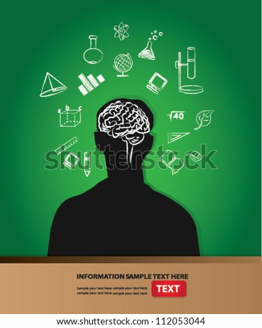 Think and brain on blackboard background ,Vector