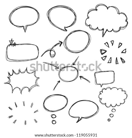 think bubble and talk bubble collection sketch drawing vector