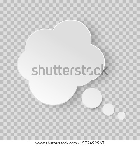 Think bubble. Dream cloud isolated on white background. White vector speech bubbles. Comic discussion speak balloon set. Cartoon think box. on transparent background ストックフォト ©