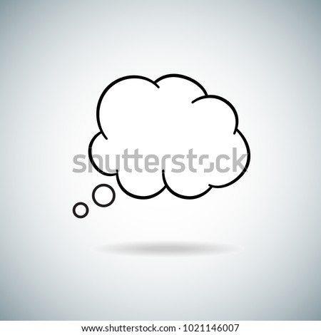Think bubble isolated on gray background. Trendy speech bubble with shadow in flat style. Modern template for social network, app, wallpaper and poster. Creative art concept,vector illustration eps 10 ストックフォト ©