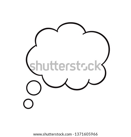 Think bubble isolated on white background. Trendy think bubble in flat style. Modern template for social network and label. Creative thought balloon. Cloud line art, vector illustration