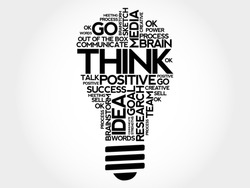 THINK bulb word cloud, business concept