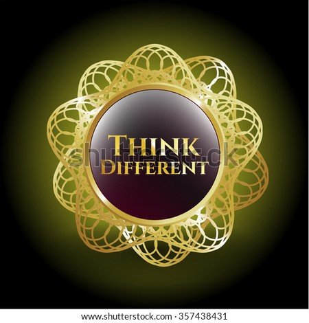 Think Different golden emblem or badge