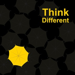 Think different, The bright yellow umbrella standing out from grey umbrella, vector and illustration.