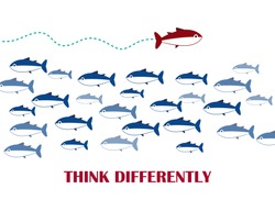 Think different.The graphic of fish also represents the concept of courage. One red unique different fish swimming opposite way of identical black ones. Vector EPS 10.